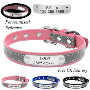 Personalised Soft Reflective PU Leather Dog Collar Custom Name ID Tags Pet