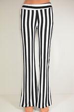 Damen Schlaghose Hose flared schwarz-weiß gestreift Stretch Gr. S/M Neu; K1 492