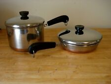 "2 revere ware copper bottom cookware vintage 3qt. with lid & 8"" fry pan with lid"