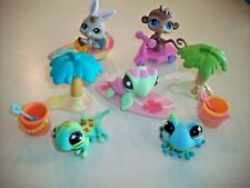 Littlest Pet Shop LPS ~ Beach Party Turtle Surfboard With Monkey & Bunny