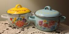New listing Two (2) Pioneer Woman ~ Breezy Blossom Mini Dutch Ovens ~ Steel w/Enamel Finish