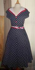 STOP STARING ~ Alicia Estrada  ~ Full  Skirt Dress ~ Navy Polka Dot w/Red~Large