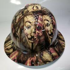 New Full Brim Hard Hat Custom Hydro Dipped Anonymous American Patriot Edition