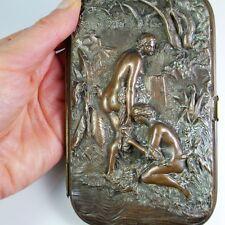 R85 Antique Cigarette Cases Victorian Edwardian Antique Leather Copper Handmade
