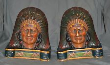 VINTAGE NATIVE AMERICAN INDIAN STATUES CHALK BOOKENDS