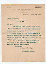 Emory P. Close - signed 1898 letter by U.S. District Attorney to Frank S Bentley