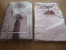 "Mens Debenhams Slim Fit Shirts 15"" Pink / Burgundy Inc Red Herring New"