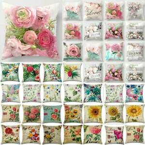 18''Outdoor Floral Rose Print Cushion Garden Square Pillow-Cases Cover Hot Decor