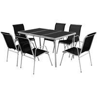 Set da Pranzo per Esterni da giardino 6 sedie + tavolo Nero