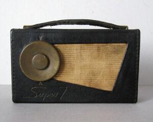 PERDIO TRANSISTOR 7 RADIO vintage Super 7 portable black leather and brass 1950s