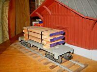 O Scale,  O Gauge  Flat Car Load Real Fir wood Lumber Handmade