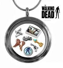 WALKING DEAD 30mm Memory Locket Set Zombie Floating Charms & Gun Metal Necklace