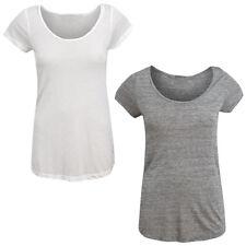 T-shirt Jersey Casual T-shirt Mi Manche Courte Blanc Gris Basic