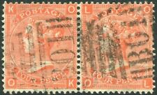 More details for 1867-80 4d vermilion plate 12 pair used in alexandria sg 93 fine used v86303