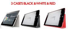 3X Apple iPad casos de soporte de cuero negro y blanco y rojo por Luardi