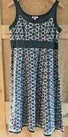 MONSOON dress black silver linen silk mix embroidered stars strappy UK14 EUR42