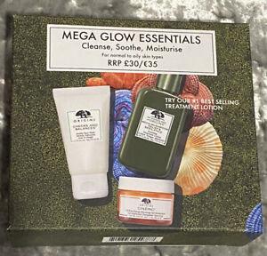 Origins Mega Glow Essentials Face Gift Set🌟Cleanse Soothe Moisturise🌟Brand New