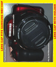 SNAP-ON FRONT LENS CAP DIRECTLY to CAMERA SAMSUNG WB 100 WB100 +HOLDER