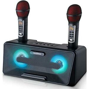 Portable Karaoke Machine for Kids with Bluetooth Speakers, 2 Wireless Microphone