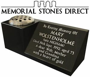 * Black Granite Memorial Vase * Grave Headstone Plaque Marble Stone Flower Vases