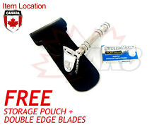 NEW DE DOUBLE EDGE TRAVEL SAFETY RAZOR SHAVING RASOIR + FREE BLADE