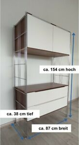 Highboard Nußbaum weiß mit Schubladen + Doppeltür Metall Holz RETRO 154 cm hoch