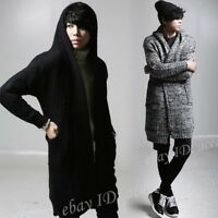 Mens Hoodie Knitted Long Cardigan Sweater Jumper Coats Warm Fleece Lined Jackets