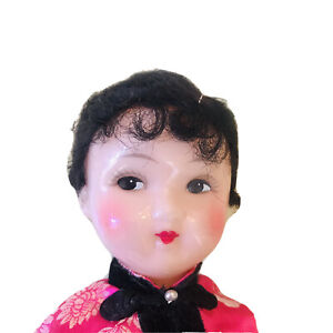 Vintage People's Republic Of China Folk Doll 10 Inch Traditional Costume 1950s