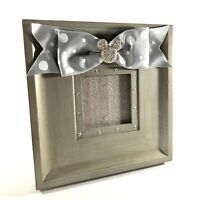 Disney Parks Minnie Mouse Rhinestoned Gray Silver Bow Picture Frame 3x3 Photo