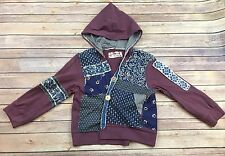 Women's Free People Purple Patchwork 3/4 Sleeve 100% Cotton Hoodie, Size XS