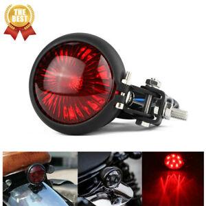 Retro Motorcycle LED Rear Stop Brake Tail Light Red Lens For Bobber Cafe Racer
