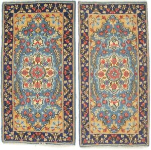 Pair of Vintage Small Oriental Rugs 2X4 Handmade Floral Design Home Decor Carpet