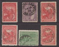 Tasmania postmark group x 6 on pictorials