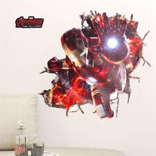 3D effect iron man hero through wall stickers for kids rooms nursery wall art