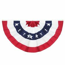 G128 – American Full Pleated Fan Flag Us Usa | 3x6 ft | Embroidered Stars