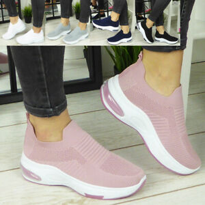 Womens Sock Trainers Ladies Sneakers Slip On Plimsole Jogging Pumps Shoes Sizes