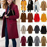 Womens Winter Warm Wool Jacket Parka Blazer Long Trench Coat Overcoat Outwear US