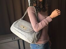 Authentic Chanel Gray Lambskin Leather East West Large Flap Shoulder Bag