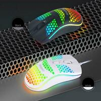 Gaming Mice Mouse 6400 DPI USB RGB Flowing Backlit Laptop Wired Light E1F5