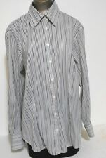 Venezia Jeans White Gray Striped Career Shirt  Blouse Top Size 14-16