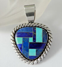 Carolyn Pollack Relios Sterling Silver Lapis & Turquoise Inlay Pendant H635