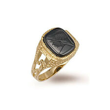 9ct Gold Hallmarked Gents Cushion  Shape Hematite Ring with ID sides