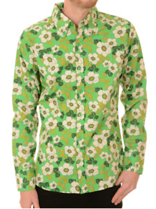 Run & Fly retro/vintage bright green floral 60's/70's style long sleeved shirt