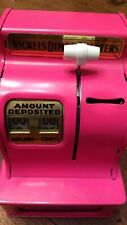 Vintage Pink Uncle Sam's 3 Coin Cash Register Bank  Made In Japan Works / EUC