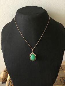 Vintage 18 kt yellow gold pendant with green Jadeite Jade ciondolo ora con giada