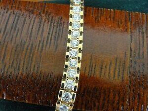 Cubic Zirconia Stones Round Gold Vermeil over Sterling Silver 925 Bracelet