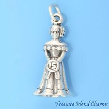 QUINCEANERA 15TH BIRTHDAY GIRL 3D .925 Solid Sterling Silver Charm DEBUTANTE