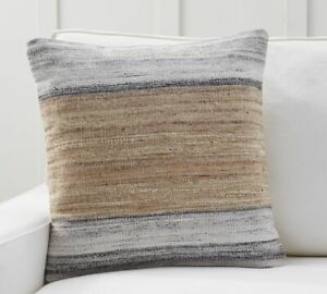 """SET OF TWO  Pottery Barn Kolten Striped Pillow Cover,22 x 22"""", Neutral"""
