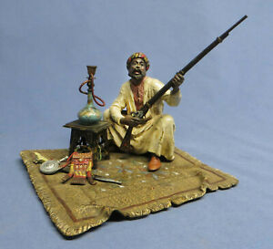 Rare Antique Franz Bergman Cold Painted Bronze Arab w/Rifle & Hooka Marked EXC!