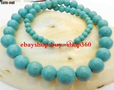"""Natural Pretty 6-14mm Blue Turky Turquoise Gemstone Round Beads Necklace 18"""""""